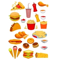 Fast Food snacks and drinks icons vector