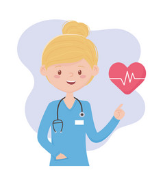 Female physyician with stethoscope medical staff vector