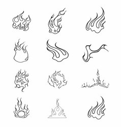 Fire Elements Outline Set vector image