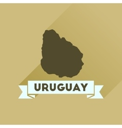Flat icon with long shadow map of Uruguay vector