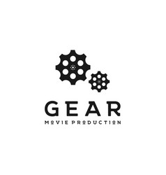 gears with film reel for movie cinema vector image