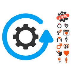 Gearwheel rotation direction icon with love bonus vector
