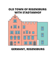 Germany regensburg old town stadtamhof line icon vector