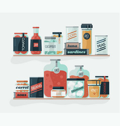 Glass jars and cans with pickled vegetables on vector