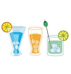 glasses with drinks and cocktails vector image