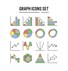 graph and diagram icon in filled outline design vector image
