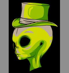 Grey alien head with hat vector
