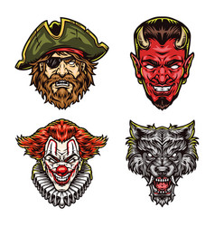 Halloween characters heads colorful concept vector