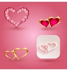 Hearts and icon elements for valentine s day or vector image