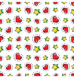 Hearts and Stars Seamless Fashion Pattern vector