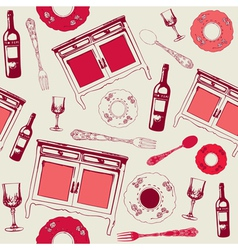 Kitchen seamless background vector image vector image