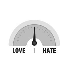 Love hate measuring gauge indicator meter with vector