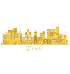 Luanda angola city skyline golden silhouette vector