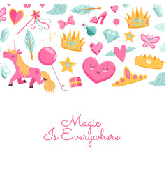 Magic and fairytale elements vector