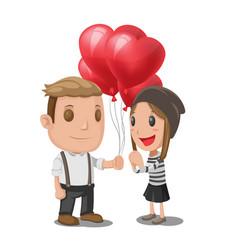 man give heart balloon woman vector image