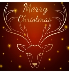 Merry Christmas brown deer head vector