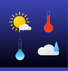 modern weather icons set flat symbols on dark vector image