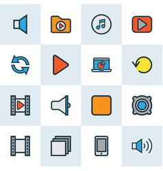 multimedia icons colored line set with mute video vector image