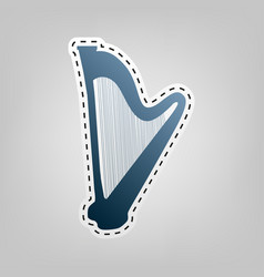 musical instrument harp sign blue icon vector image