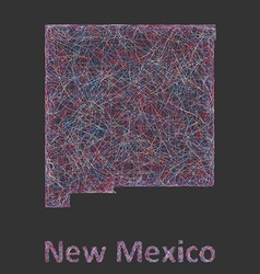 New Mexico line art map vector image