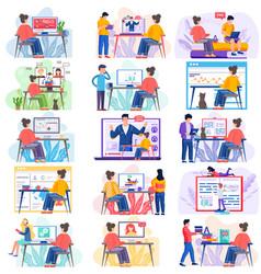 Online learning videoconferencing scenes set vector
