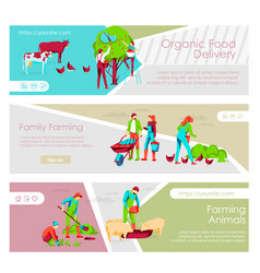 Organic food delivery landing page templates set vector