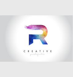 R paintbrush letter design with watercolor brush vector