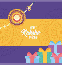 Raksha bandhan wristband gift boxes and mandala vector
