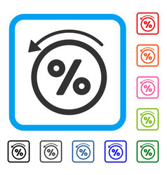 Rebate percent framed icon vector