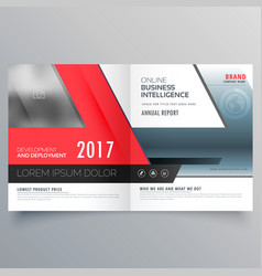 Red business bifold brochure poster design vector