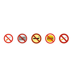 Restricted sign icon set flat style vector
