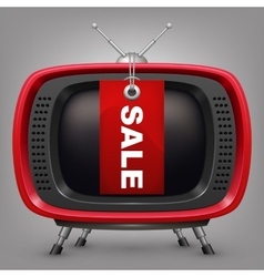 Retro red tv with labal sale vector