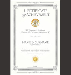 Retro vintage certificate or diploma template 2 vector