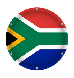 Round metallic flag of south africa with screws vector