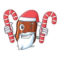 Santa with candy dates fruit mascot cartoon vector