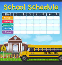 school schedule timetable with student items vector image