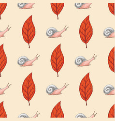 Seamless pattern with red beech leaf and snails vector