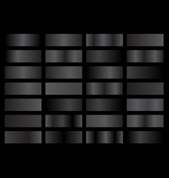 set black and grey metallic gradients swatches vector image