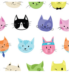 set cats a collection cartoon kittens of vector image