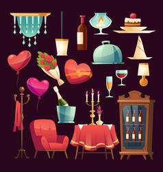 Set for romantic dinner in valentines day vector