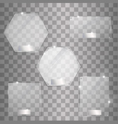 set glass plates modern banners vector image