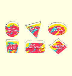 set of flat geometrical vintage color vector image