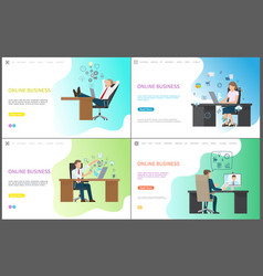 set of sitting worker at table with laptop vector image