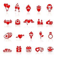 Set valentines day red icon vector image