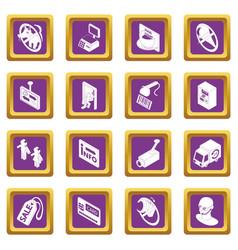 Shop navigation foods icons set purple square vector