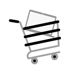 Shopping cart online laptop technology gray color vector