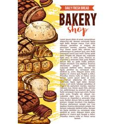 Sketch bakery shop bread poster vector
