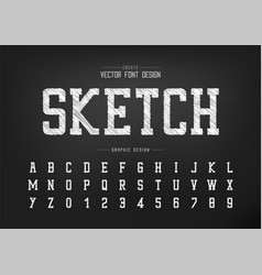 sketch font and alphabet chalk typeface and vector image