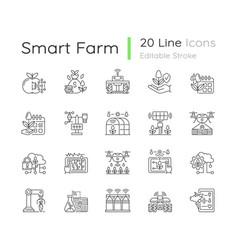 Smart farm system linear icons set vector