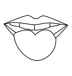 Smiling mouth icon outline style vector